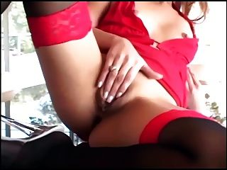 Skinny Blonde With Braces Masturbates In Stockings
