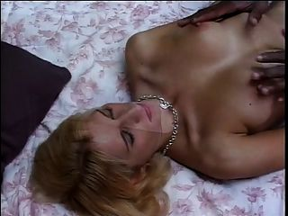White Blonde Chick On Her Knees With Massive Black Cock In Her Mouth