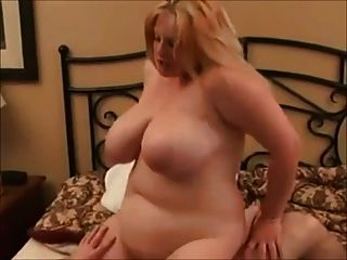 Fat Bbw Blonde Gf Riding Cock Anal And Cum