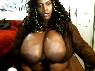 Nasty Black Bbw With Enormous Tits Uses Dildo