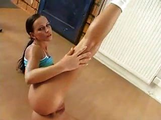 Brunette Beauty Babe Strip And Show Pussy In Fitness Room