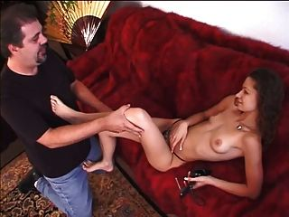 Hottie With Nice Naturals Giving A Guy A Foot Job And A Blow Job