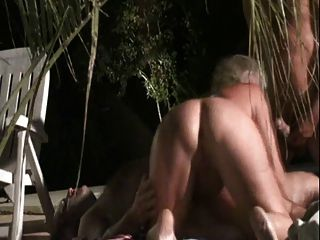 Hot Mature In Threesome Next To The Pool