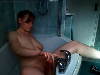 Floppy Redhead Masturbating In Bathtub