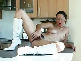 Hairy Babe In White Boots By Troc