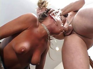 Gorgeous Blonde Takes Two Cocks At Once, A Huge Facial While Hubby Watches