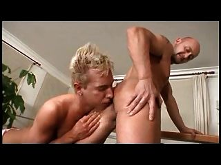 Young Blonde Eating Cum From His Older Friend.