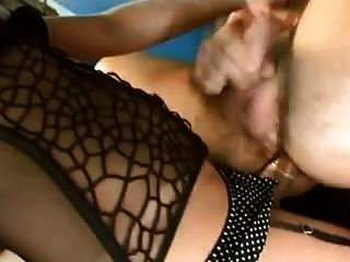 Blonde With Big Cock In Black Lingerie Fucks Guy