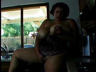 Big Fat Slut With Huge Tits Plays With Herself In The Kitchen