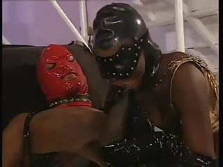 Black Bitch In Latex Catsuit Sucks Big Black Cock For Facial