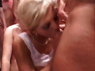 Blonde In A Gangbang With A Lot Of Sperm