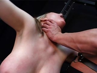 Blonde Slut Gets Hard Tit Treatment