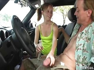 Teen Handjob In The Car