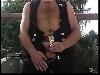 Hairy German Man In Black Jerking Off