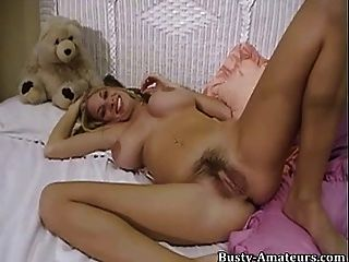 Mary Fox Fingering And Playing Her Hairy Pussy With Dildo