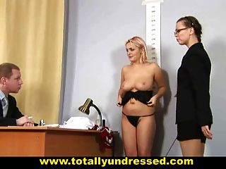 Busty Blonde Babe At Nude Job Interview