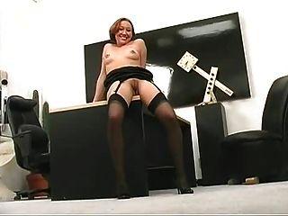 Redhead Milf Wearing Black Stockings
