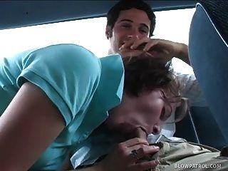 Cute College Girl Sucks Cock In The Back Seat