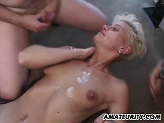 Amateur Blonde Girlfriend Gangbang With Bukkake