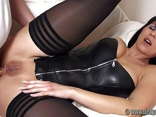 Ass Fucked In A Black Leather Corset And Stockings