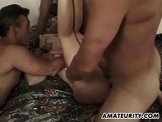 Busty Amateur Girlfriend Gangbang With A Paper Bag On Face