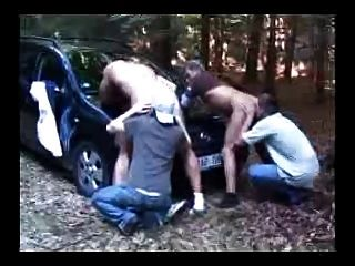 4 Guys On Car Bonnet.. Hot As Hell. Xxxx