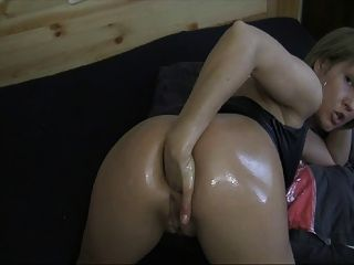 Horny Girl Fisting Her Oiled-up Asshole
