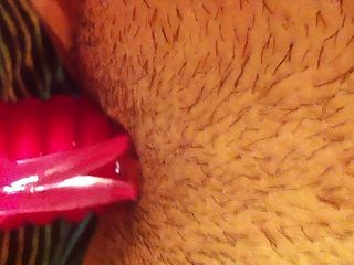 Pink Rabbit Vibe In Hairy Pussy