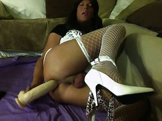 Cross Dresser Lisa Gets Loose With A 12 Dildo