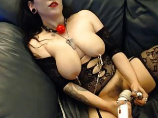 Tat Girl With Nipple Clamp, Hook Dildo And Vibe Gets Off Big