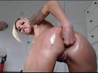 Busty Inked Blonde Dildo Bate