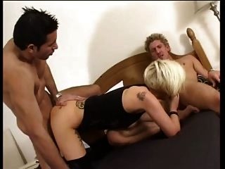 Blonde Brit Does Anal With Two Guys For Money
