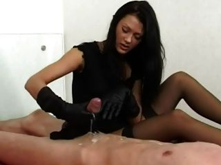 Came Gloved hand handjobs lick slave
