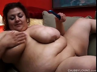 Cute And Cuddly Fatty Plays With Her Massive Boobs And Juicy