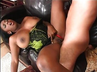 Ebony Hottie Loves Big White Cock