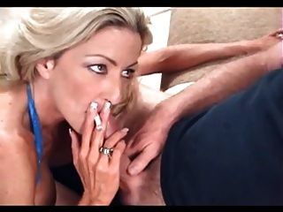 Hot Blonde Cougar Smoking Bj