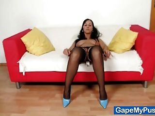 Hot Brunette Nikki Filthy Pussy Gaping Closeups