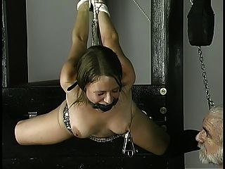 Slave Gets Rope Around Wrists Nipples Clamped And Ball Gag In Her Mouth
