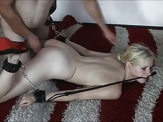 Tied Up Young German Blonde Fucked And Facialized