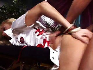 British Blonde Slut Gets Fucked In White Stockings