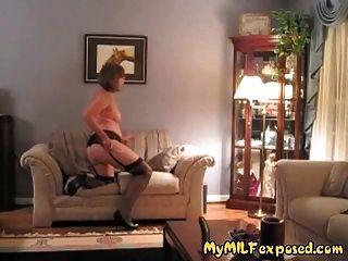 Older Milf Exposed - Retro Stockings Granny Toy Play
