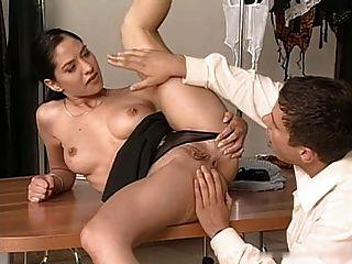Brunette Lara Threesome At Work