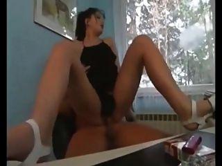 Brunette Secretary Fucked While Smoking