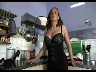 British Slut Plays With Herself In The Kitchen In Stockings