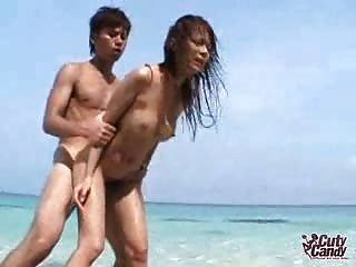 Noisy Asian Fucked On The Beach