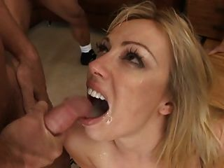 Blond Nasty Whore Eating Cum