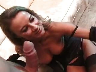 Really Nice Blonde In Black Stockings Fuck 2 Guys