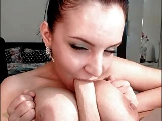 Sexy Brunette Sucks & Rides Dildo On Cam