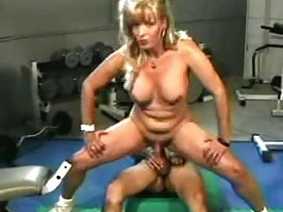 Mature Blond Shemale In The Gym.