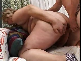 Bbw Mother With Young Man On Divan